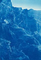a mountain in cyan blue