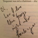 "the words ""Oh, how I love Nina George right now. Thank you."" scribbled on the page of a book"