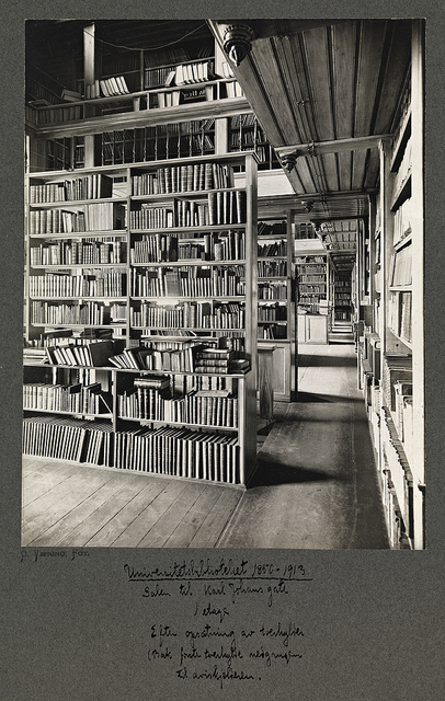 library, black and white photo